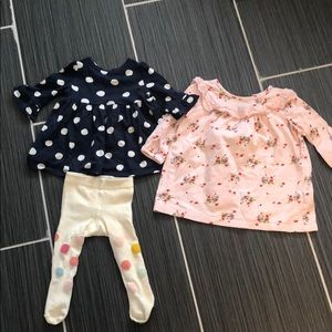 Set of 3 Baby Gap dress floral w/ tights
